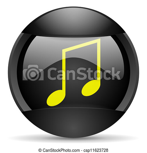 music round black web icon on white background - csp11623728
