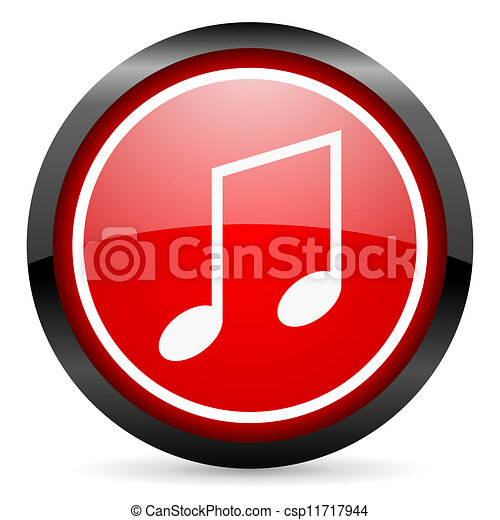 music round red glossy icon on white background - csp11717944