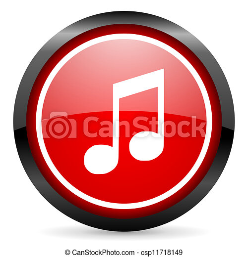 music round red glossy icon on white background - csp11718149