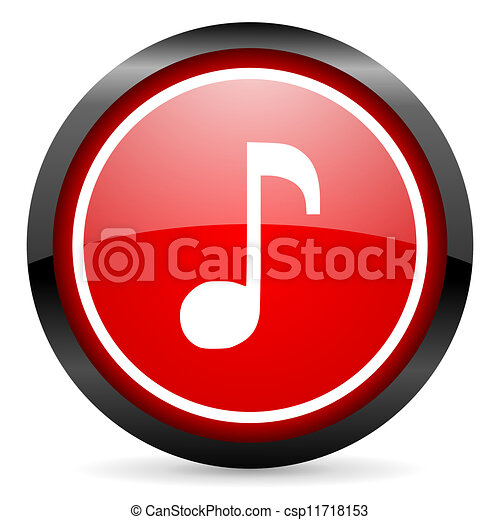 music round red glossy icon on white background - csp11718153