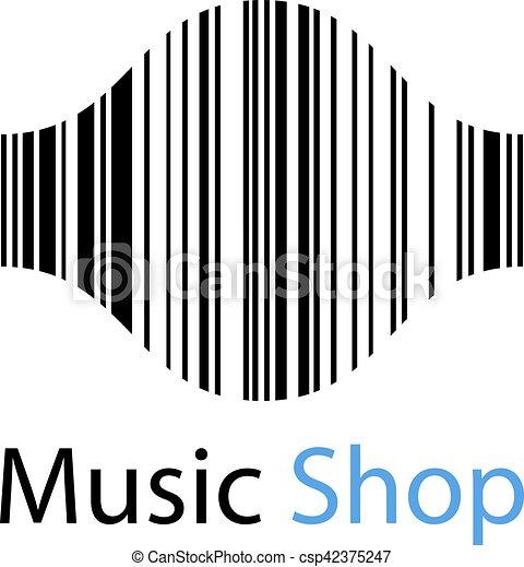 music shop ean barcode sound wave symbol illustration for the web
