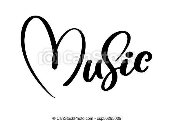 Music Sign Icon Heart Karaoke Symbol Modern Calligraphy Quote