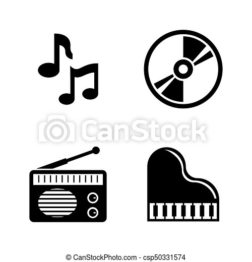 music simple related vector icons set for video mobile vectors rh canstockphoto com music vector oblong music vector background