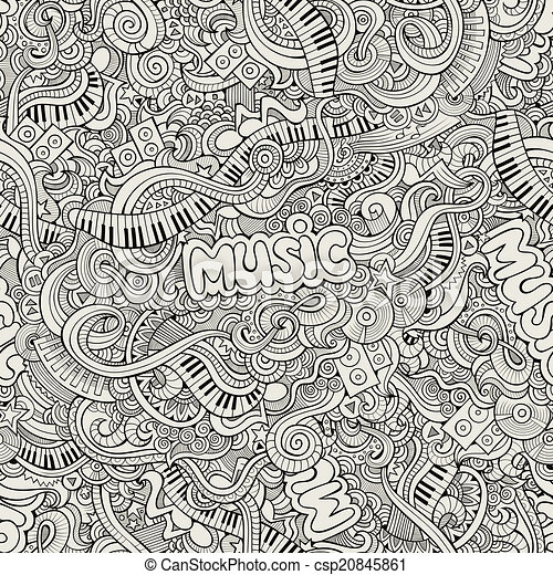 Music Sketchy Doodles. Hand-Drawn Vector Illustration - csp20845861