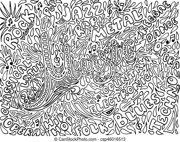 Music Sketchy Notebook Doodles. Hand-Drawn Illustration. - csp46016513