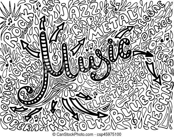 Music Sketchy Notebook Doodles. Hand-Drawn Illustration. - csp45975100