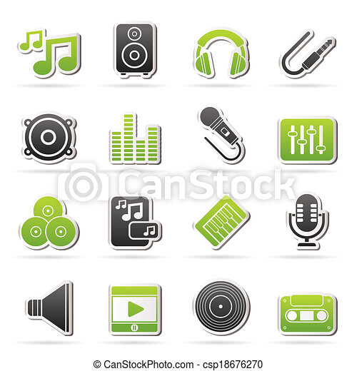 Music, sound and audio icons - csp18676270