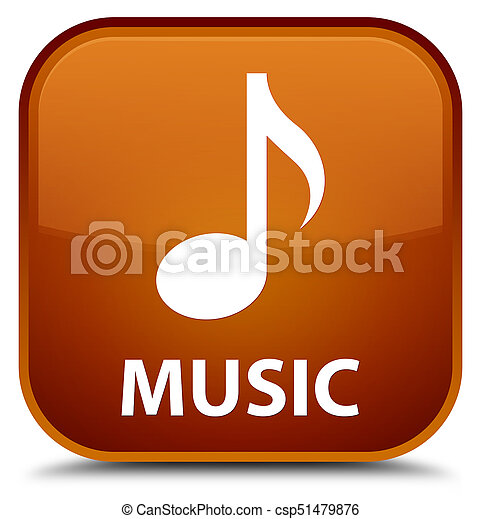 Music special brown square button - csp51479876