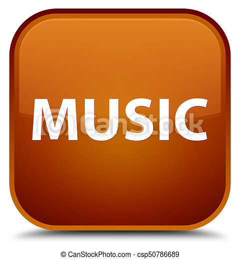 Music special brown square button - csp50786689
