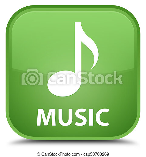 Music special soft green square button - csp50700269