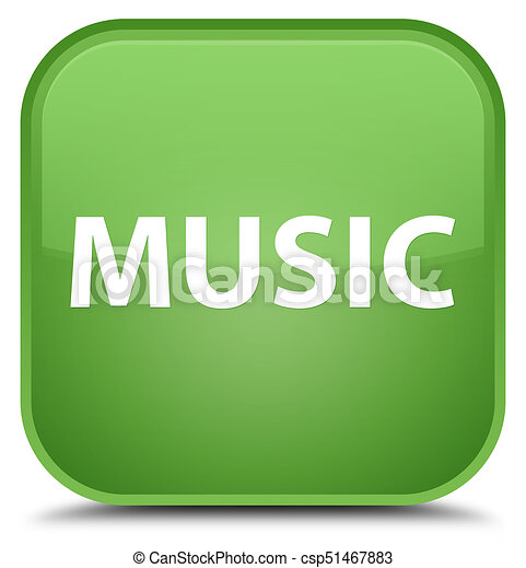 Music special soft green square button - csp51467883