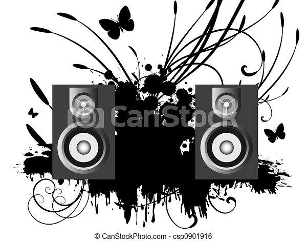 speakers art. stock illustration - music speakers art
