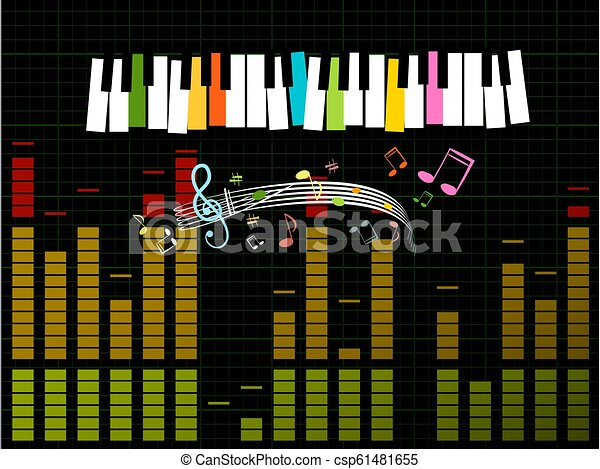 Music Studio Background with Keyboard, Frequency -  Gain Graph and Notes - Vector - csp61481655