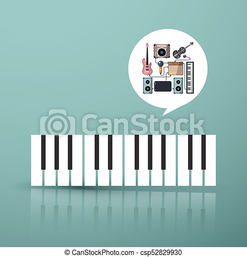 Music Symbol. Piano Keyboard with Instruments in Bubble - csp52829930
