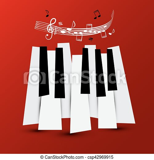 Music Symbol. Vector Piano Keys with Staff and Notes. Keyboard on Red Background. - csp42969915