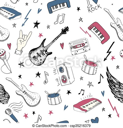 Music Symbols Seamless Pattern Rock Music Background Textures