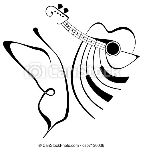 5c8043c7f Music tattoo - butterfly, guitar and piano. isolated black and white  illustration. outline.