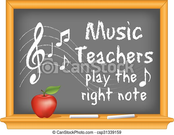 music teachers play the right note with music notes treble rh canstockphoto com Music Conductor music clipart for teachers