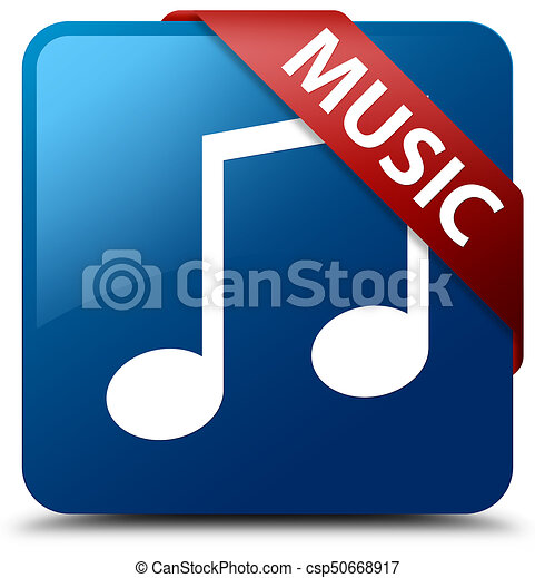 Music (tune icon) blue square button red ribbon in corner - csp50668917