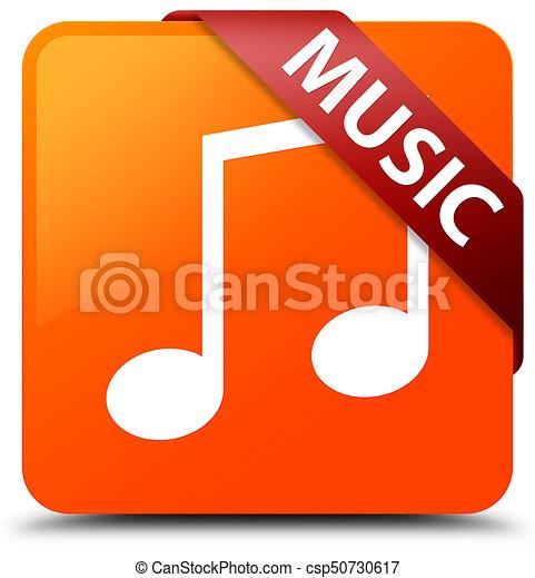 Music (tune icon) orange square button red ribbon in corner - csp50730617