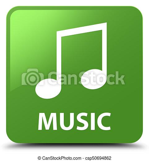 Music (tune icon) soft green square button - csp50694862