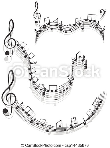 Music. Two treble clefs and notes for your design on a white background. - csp14485876