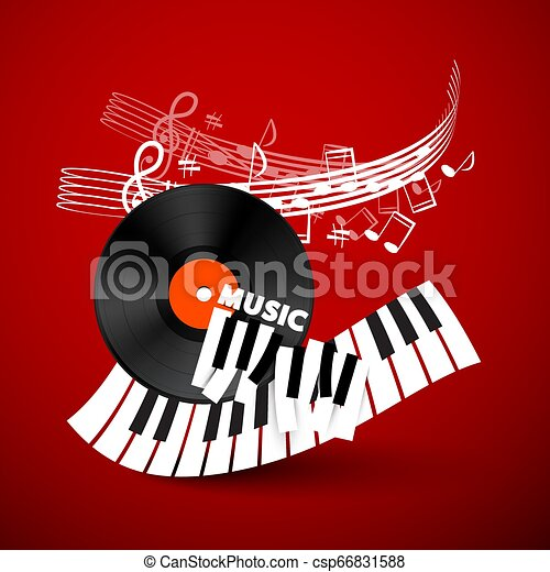 Music Vector Design Background with Vinyl Record, Piano Keyboard and Staff on Red Background - csp66831588