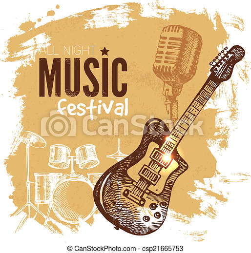 Music vintage background. Splash blob retro design.  - csp21665753