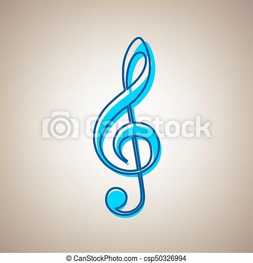 Music Violin Clef Sign G Clef Treble Clef Vector Sky Blue Icon