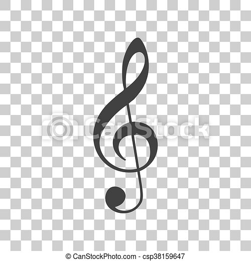 Music violin clef sign. G-clef. Treble clef. Dark gray icon on transparent background. - csp38159647
