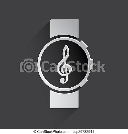 music watch web icon. - csp29732941