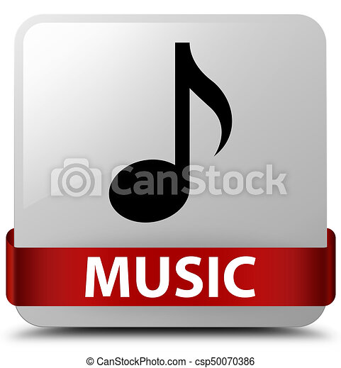 Music white square button red ribbon in middle - csp50070386