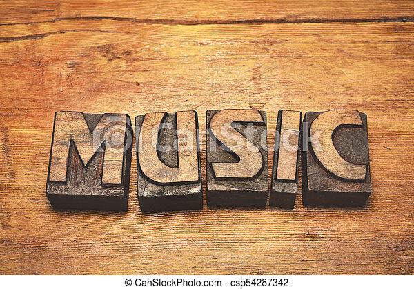 music wood vintage - csp54287342