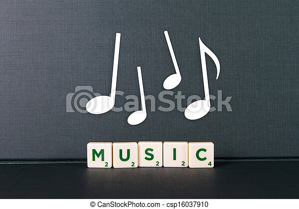Music Word and Notes - csp16037910