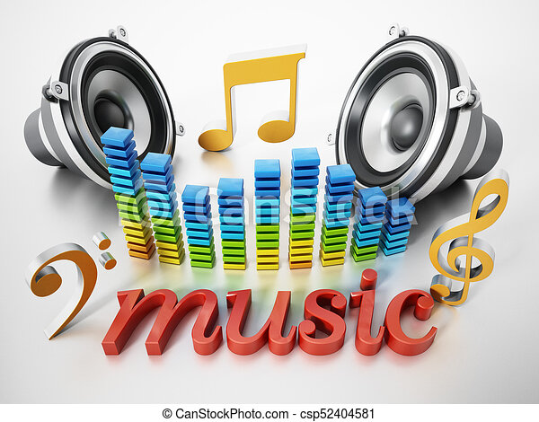 music word speakers music notes and equalizer 3d illustration