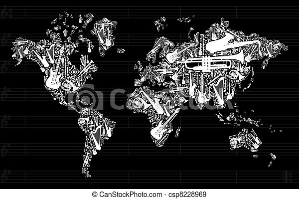 Music world map globe world map silhouette made with eps vectors music world map csp8228969 gumiabroncs Choice Image
