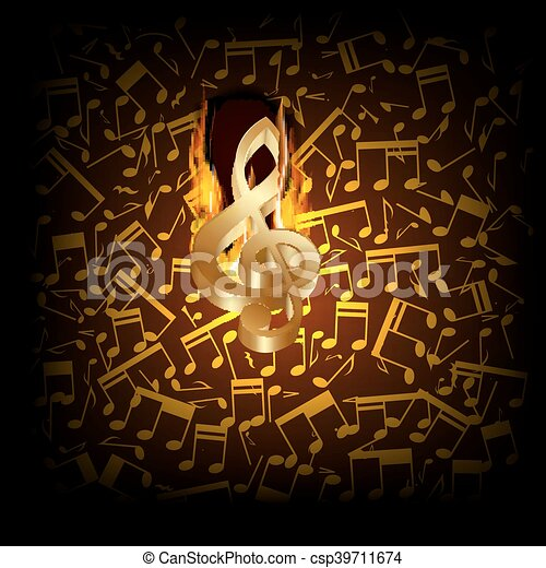 musical background fire break with a treble clef - csp39711674