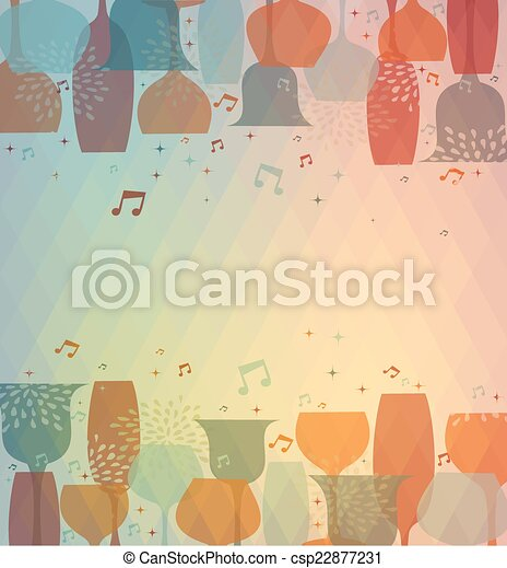 Musical Cocktail glass colorful background - csp22877231