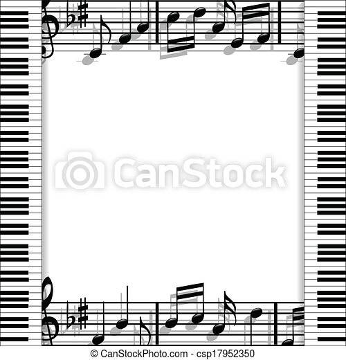 Musical frame. Illustration of a music frame with keyboards and ...