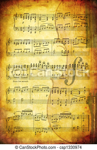 Musical Grunge Background - csp1330974