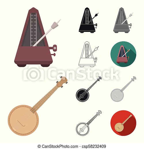 Musical instrument cartoon, black, flat, monochrome, outline icons in set collection for design. String and Wind instrument vector symbol stock web illustration. - csp58232409