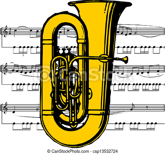 musical instrument the tuba vector illustration search clipart rh canstockphoto com Trombone Clip Art tuba clipart free