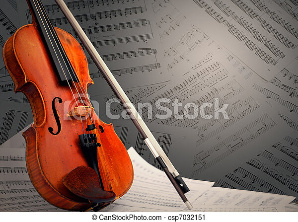 Musical instrument ? violin and notes - csp7032151
