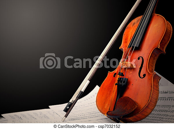 Musical instrument ? violin and notes - csp7032152