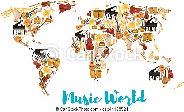 Musical instruments forming world map world map made of musical musical instruments forming world map csp44138524 gumiabroncs Choice Image