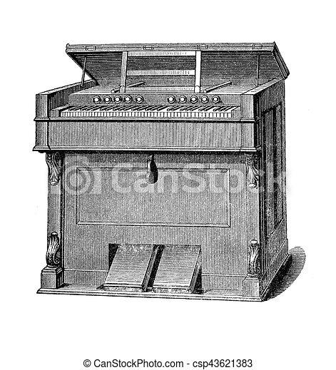 Musical instruments, harmonium vintage engraving - csp43621383