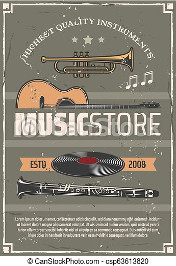 Musical instruments, music store vector poster. Music store retro vector  poster, musical wind and string instruments, old