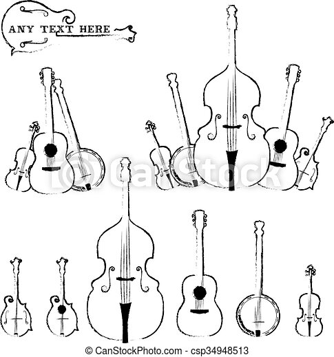 Musical instruments rustic style - csp34948513
