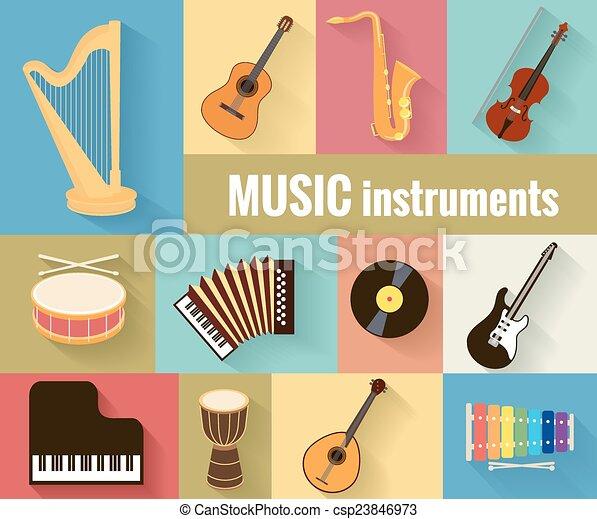 Musical instruments vector set - csp23846973