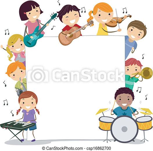 musical kids illustration of kids holding musical vector clipart rh canstockphoto com Music Teacher Clip Art Music Teacher Clip Art